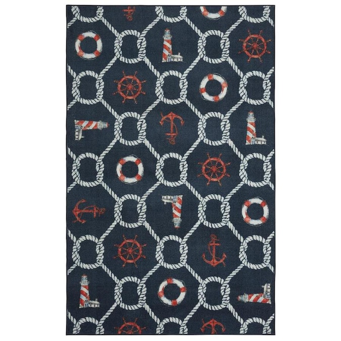 Mohawk Home Prismatic 5 X 8 Navy Indoor Trellis Coastal Area Rug In The Rugs Department At Lowes Com