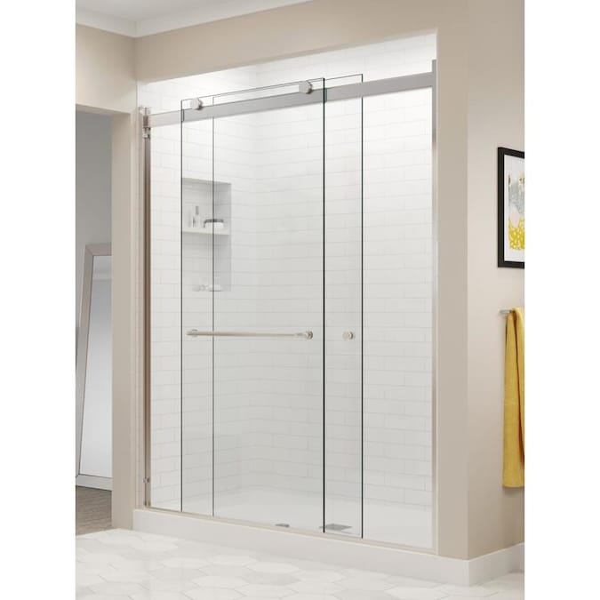 Sterling Finesse 70 0625 In H X 54 625 In To 59 625 In W Frameless Sliding Brushed Nickel Shower Door Clear Glass In The Shower Doors Department At Lowes Com