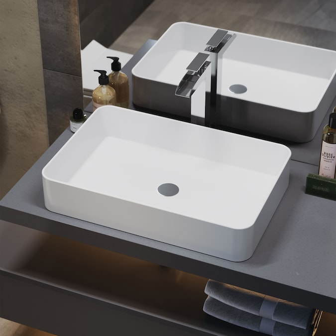Swiss Madison Concorde Glossy White Ceramic Vessel Rectangular Bathroom Sink 24 25 In X 16 13 In In The Bathroom Sinks Department At Lowes Com