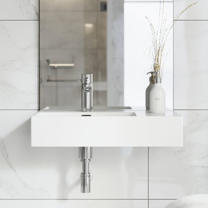 Swiss Madison St Tropez White Ceramic Wall Mount Rectangular Bathroom Sink With Overflow Drain 23 62 In X 16 54 In In The Bathroom Sinks Department At Lowes Com