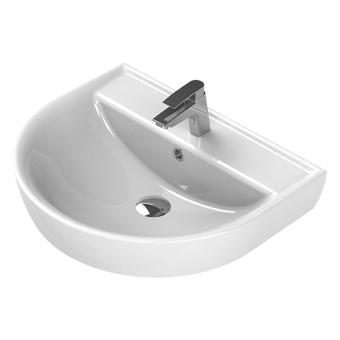 Nameeks Bella White Ceramic Wall Mount Round Bathroom Sink With Overflow Drain 23 7 In X 19 5 In In The Bathroom Sinks Department At Lowes Com