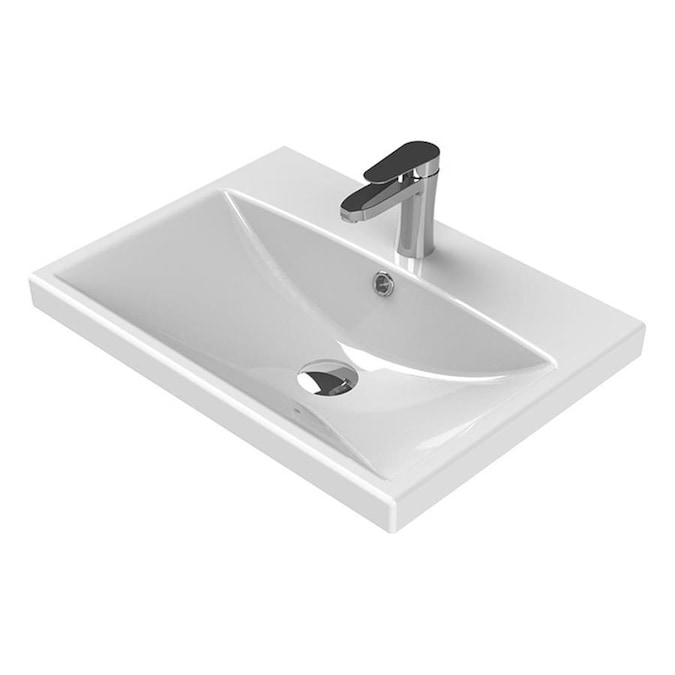 Nameeks Elite White Ceramic Wall Mount Rectangular Bathroom Sink With Overflow Drain 23 62 In X 17 72 In In The Bathroom Sinks Department At Lowes Com