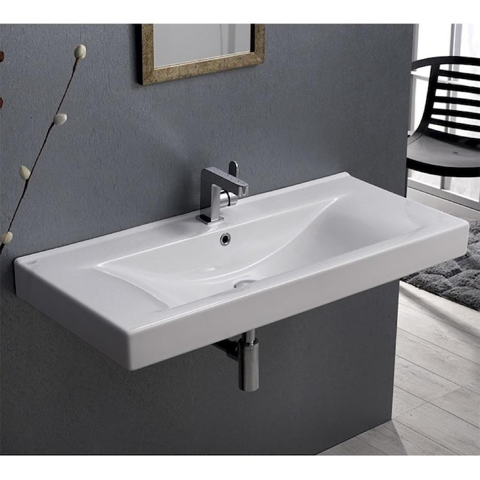 Nameeks Mona White Ceramic Wall Mount Rectangular Bathroom Sink With Overflow Drain 40 In X 17 5 In In The Bathroom Sinks Department At Lowes Com