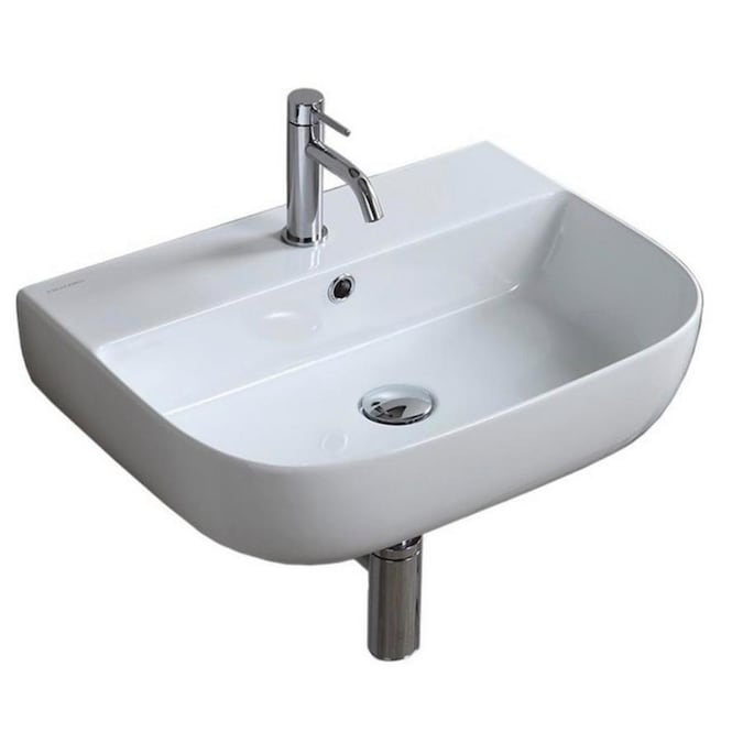 Nameeks Glam White Ceramic Wall Mount Rectangular Bathroom Sink With Overflow Drain 21 7 In X 16 6 In In The Bathroom Sinks Department At Lowes Com