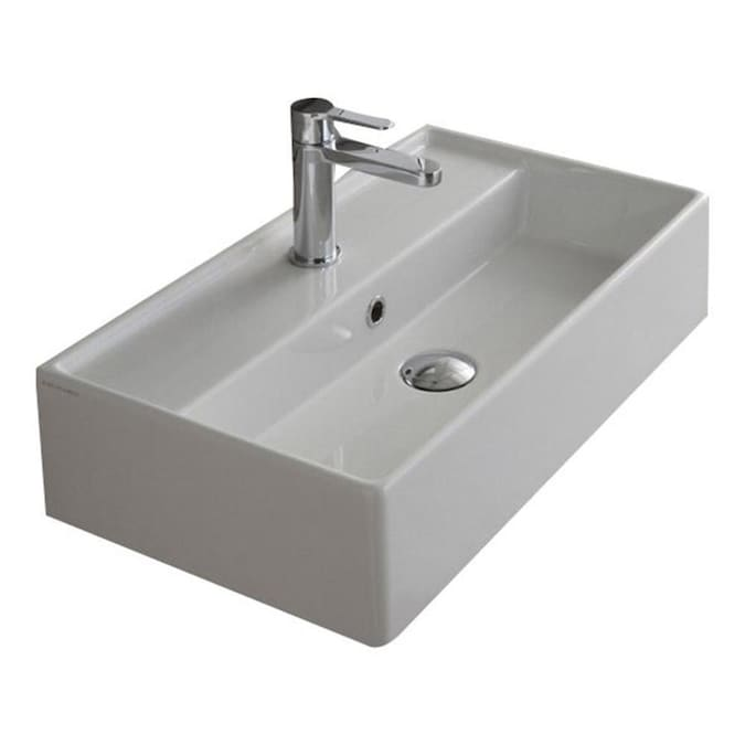 Nameeks Teorema White Ceramic Wall Mount Rectangular Bathroom Sink With Overflow Drain 23 62 In X 13 39 In In The Bathroom Sinks Department At Lowes Com