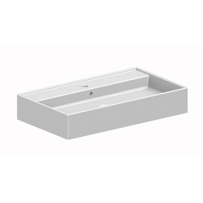 Nameeks Teorema White Ceramic Vessel Rectangular Bathroom Sink 31 69 In X 31 69 In In The Bathroom Sinks Department At Lowes Com