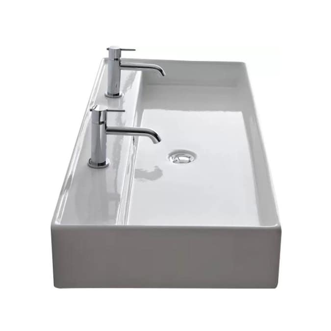 Nameeks Teorema White Ceramic Wall Mount Square Trough Bathroom Sink With Overflow Drain 47 2 In X 18 1 In In The Bathroom Sinks Department At Lowes Com