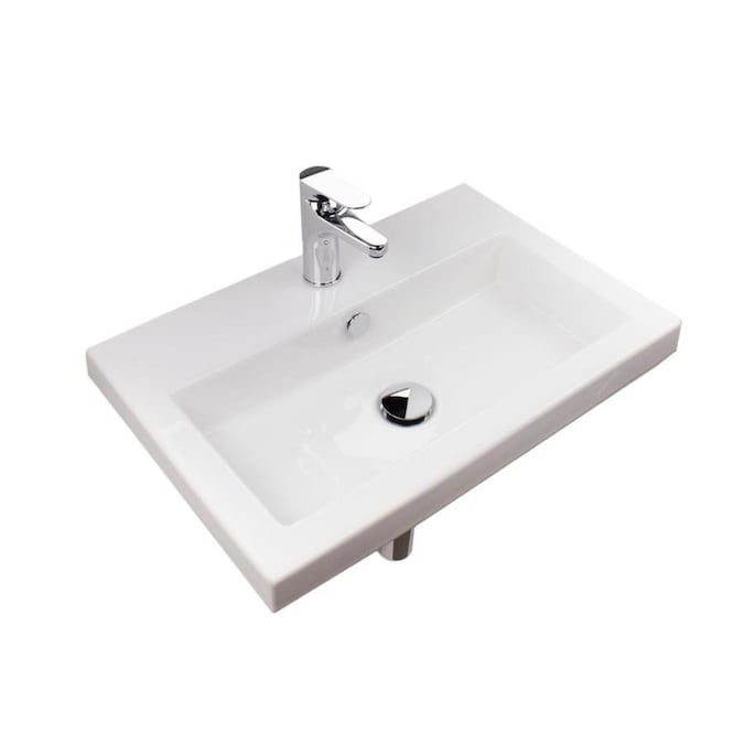 Nameeks Serie 40 White Ceramic Wall Mount Square Bathroom Sink With Overflow Drain 23 6 In X 15 7 In In The Bathroom Sinks Department At Lowes Com