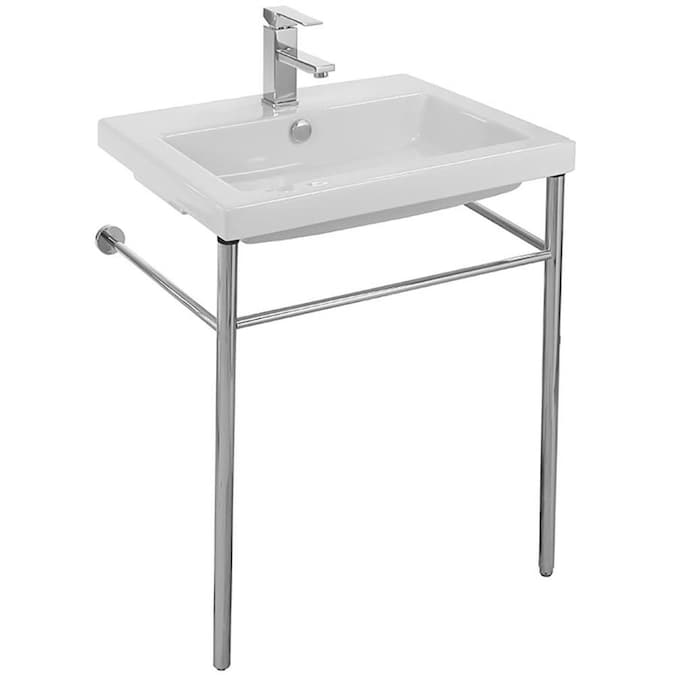 Nameeks Cangas White Ceramic Wall Mount Rectangular Bathroom Sink With Overflow Drain 23 6 In X 17 72 In In The Bathroom Sinks Department At Lowes Com