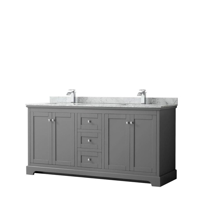 Wyndham Collection Avery 72 In Dark Gray Undermount Double Sink Bathroom Vanity With White Carrara Marble Natural Marble Top In The Bathroom Vanities With Tops Department At Lowes Com