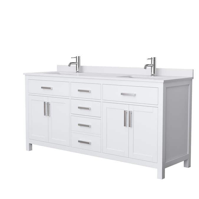 Wyndham Collection Beckett 72 In White Undermount Double Sink Bathroom Vanity With White Cultured Marble Cultured Marble Top In The Bathroom Vanities With Tops Department At Lowes Com