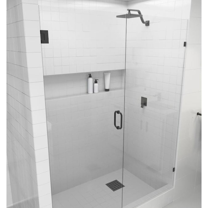Glass Warehouse Glass Warehouse 78 In H X 63 25 In To 63 75 In W Frameless Hinged Oil Rubbed Bronze Shower Door Clear Glass In The Shower Doors Department At Lowes Com