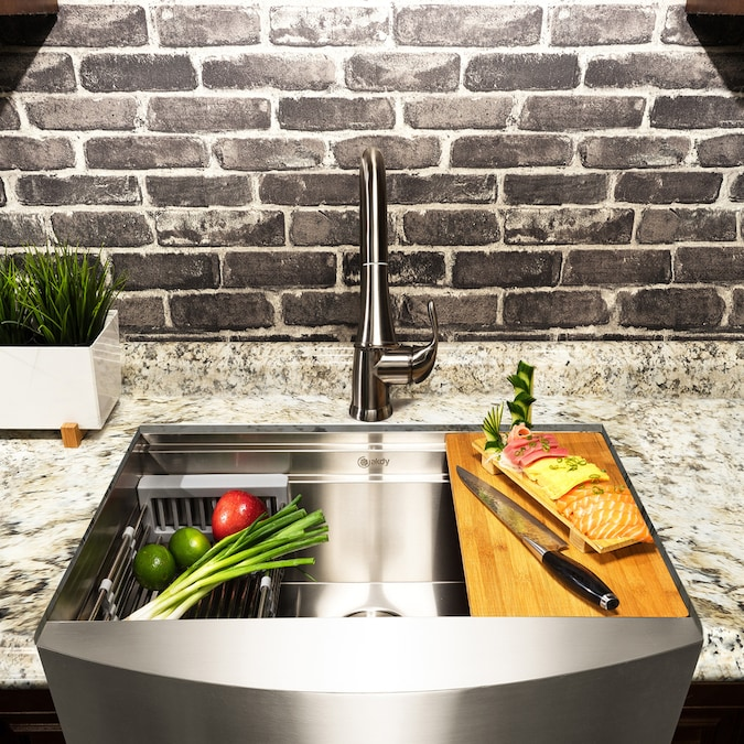Akdy Handmade Farmhouse Apron Front 33 In X 22 In Stainless Steel Single Bowl Workstation Kitchen Sink All In One Kit In The Kitchen Sinks Department At Lowes Com