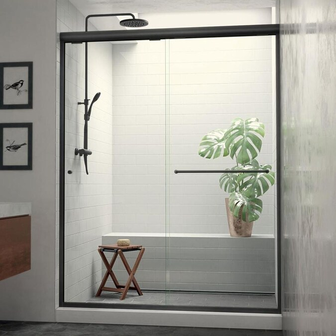 Holcam Distinctive Elite 71 375 In H X 58 0625 In To 59 In W Semi Frameless Hinged Matte Black Shower Door Clear Glass In The Shower Doors Department At Lowes Com