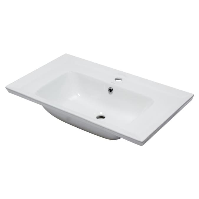 Eago White Porcelain Drop In Rectangular Bathroom Sink With Overflow Drain 31 5 In X 18 88 In In The Bathroom Sinks Department At Lowes Com