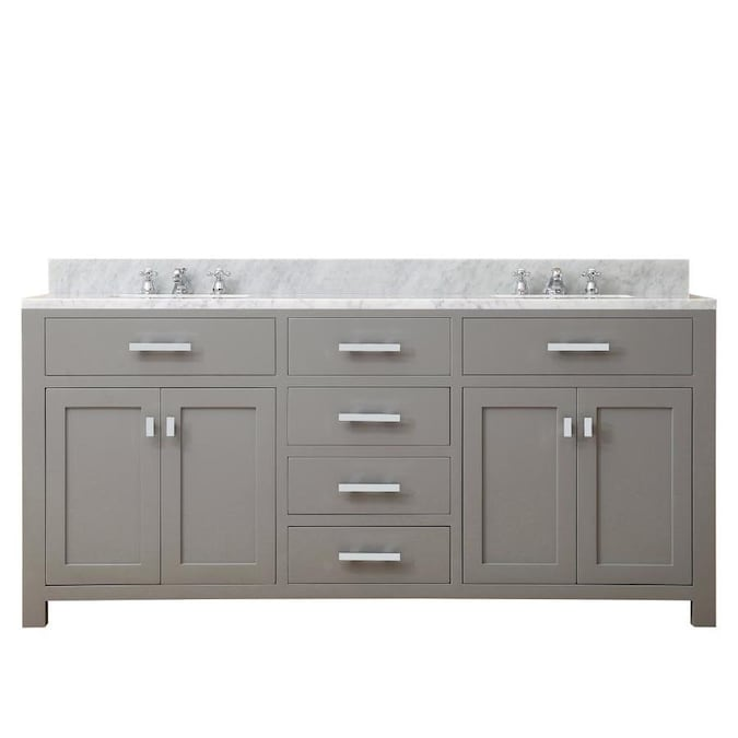 Water Creation Madison 72 In Cashmere Grey Undermount Double Sink Bathroom Vanity With Carrara White Natural Marble Top In The Bathroom Vanities With Tops Department At Lowes Com