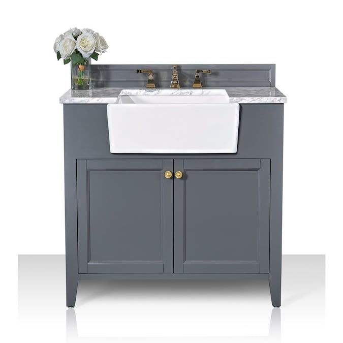 Ancerre Designs Adeline 36 In Sapphire Gray Farmhouse Single Sink Bathroom Vanity With Cararra White Natural Marble Top In The Bathroom Vanities With Tops Department At Lowes Com