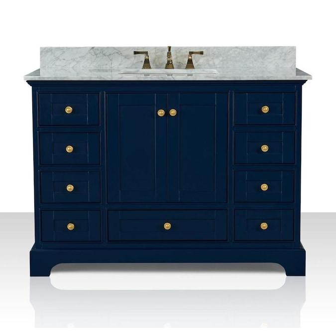 Ancerre Designs Audrey 48 In Heritage Blue Undermount Single Sink Bathroom Vanity With Carrara White Natural Marble Top In The Bathroom Vanities With Tops Department At Lowes Com