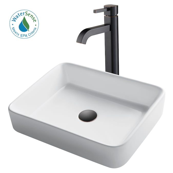 Kraus Satin Nickel Ceramic Vessel Rectangular Bathroom Sink With Faucet Drain Included 18 75 In X 14 25 In In The Bathroom Sinks Department At Lowes Com