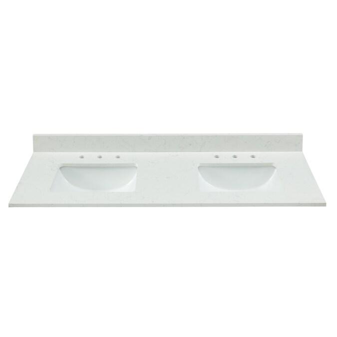 Bestview 61 In Carrara White Quartz Double Sink Bathroom Vanity Top In The Bathroom Vanity Tops Department At Lowes Com