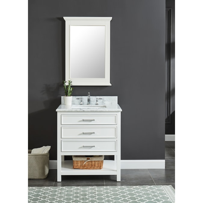 Allen Roth Presnell 31 In Dove White Undermount Single Sink Bathroom Vanity With Carrara White Natural Marble Top In The Bathroom Vanities With Tops Department At Lowes Com