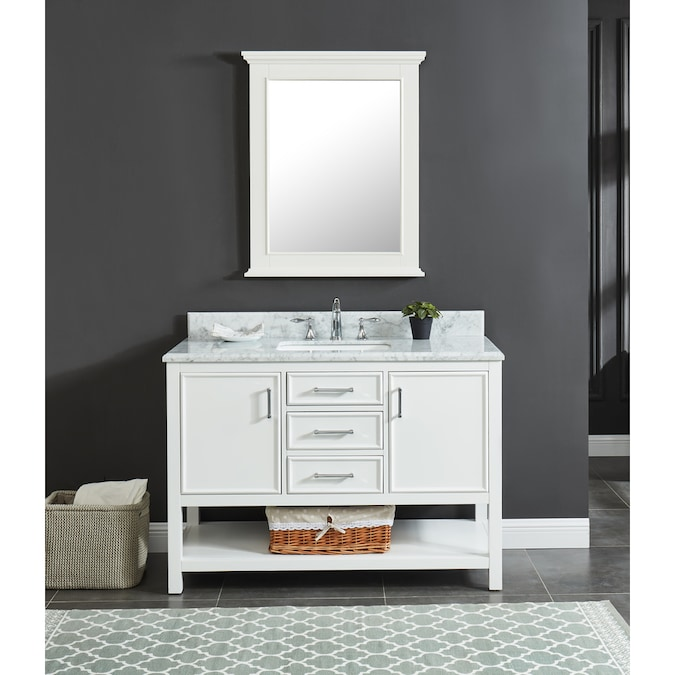 Allen Roth Presnell 49 In Dove White Undermount Single Sink Bathroom Vanity With Carrara White Natural Marble Top In The Bathroom Vanities With Tops Department At Lowes Com