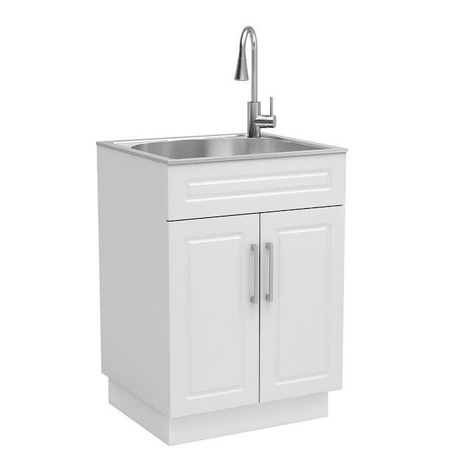 Style Selections 21 4 In X 24 1 In 1 Basin White Freestanding Utility Tub With And Faucet In The Utility Sinks Department At Lowes Com