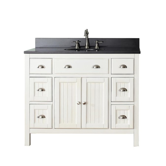 Avanity Hamilton 43 In French White Undermount Single Sink Bathroom Vanity With Black Granite Top In The Bathroom Vanities With Tops Department At Lowes Com