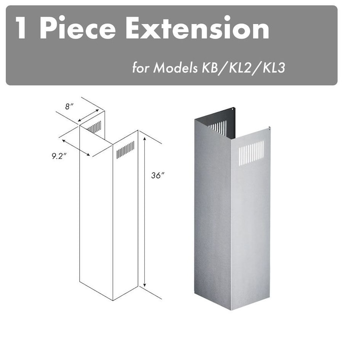 Zline Kitchen Bath Zline 1 36 In Chimney Extension For 9 Ft To 10 Ft Ceilings In The Range Hood Parts Department At Lowes Com