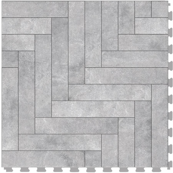 Perfection Floor Tile Master Mosaic Chevron Graystone Satin 20 In X 20 In Water Resistant Interlocking Luxury Vinyl Tile 16 7 Sq Ft In The Vinyl Tile Department At Lowes Com