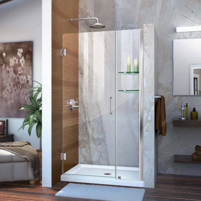 Dreamline Unidoor X 72 In H X 42 In To 42 5 In W Frameless Hinged Brushed Nickel Shower Door Clear Glass In The Shower Doors Department At Lowes Com
