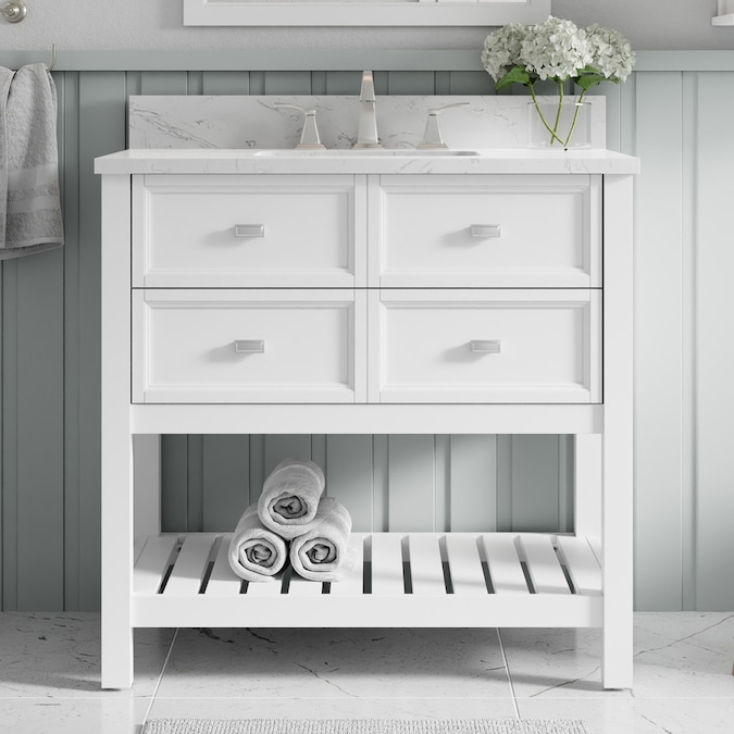 Allen Roth Canterbury 36 In White Undermount Single Sink Bathroom Vanity With Carrara Engineered Marble Top In The Bathroom Vanities With Tops Department At Lowes Com