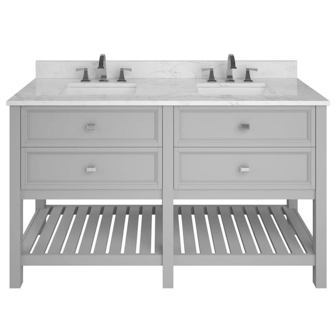 Allen Roth Canterbury 60 In Light Gray Double Sink Bathroom Vanity With Natural Carrara Marble Top In The Bathroom Vanities With Tops Department At Lowes Com