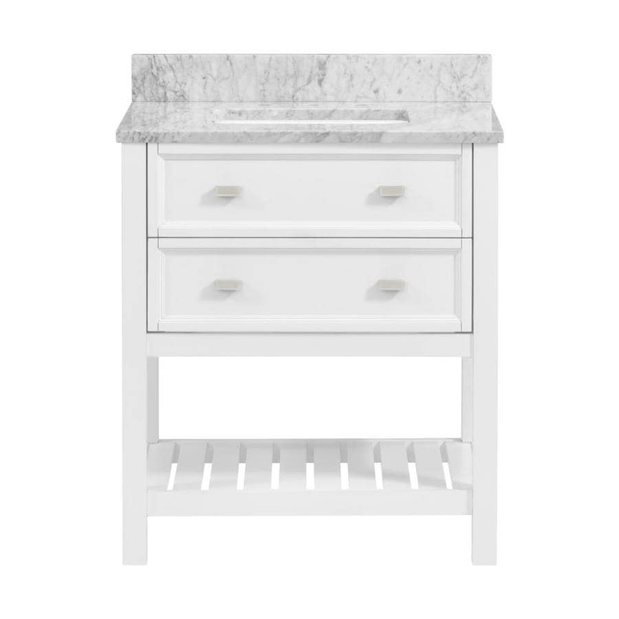 Allen + Roth Canterbury 30-in White Single Sink Bathroom Vanity With  Natural Cararra Marble Top In The Bathroom Vanities With Tops Department At  Lowes.com