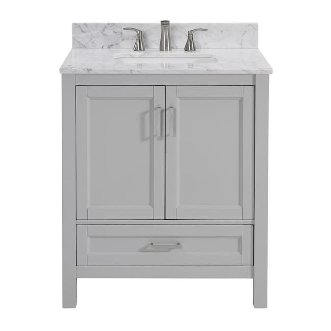 Durham 30 In Light Gray Undermount Single Sink Bathroom Vanity With Carrara Natural Marble Top In The Bathroom Vanities With Tops Department At Lowes Com