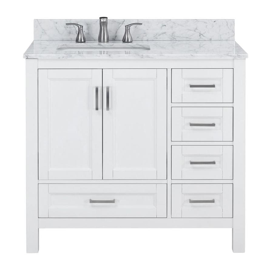 Durham 36-in White Oak Undermount Single Sink Bathroom Vanity With Carrara  Natural Marble Top In The Bathroom Vanities With Tops Department At  Lowes.com