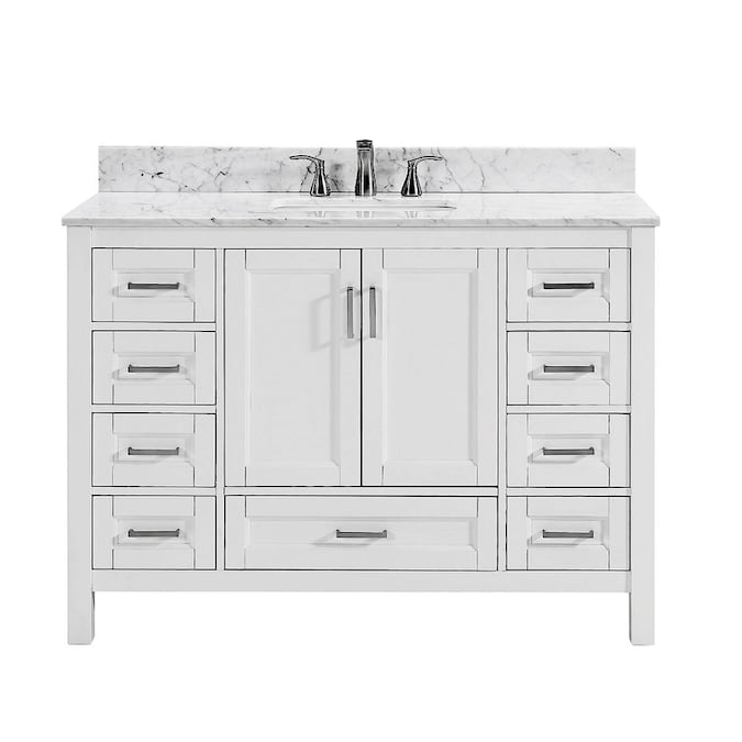 Durham 48 In White Oak Single Sink Bathroom Vanity With Carrara Natural Marble Top In The Bathroom Vanities With Tops Department At Lowes Com