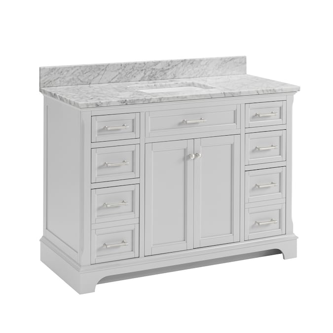 Allen Roth Roveland 48 In Light Gray Undermount Single Sink Bathroom Vanity With Natural Carrara Marble Top In The Bathroom Vanities With Tops Department At Lowes Com
