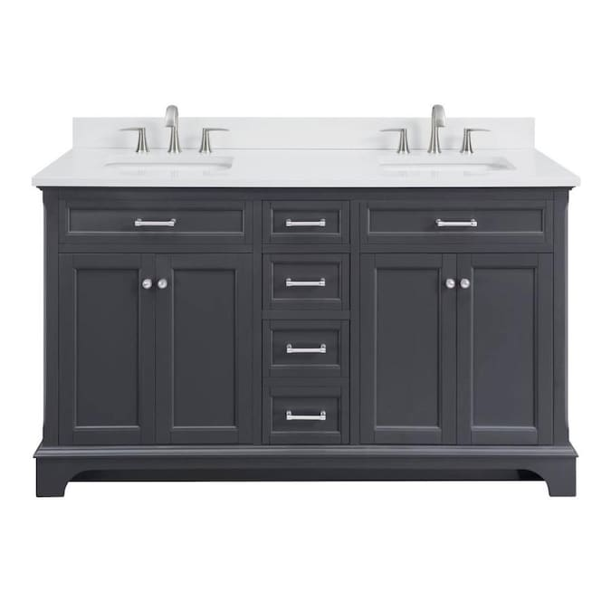 Allen Roth Roveland 60 In Dark Gray Double Sink Bathroom Vanity With White Engineered Stone Top In The Bathroom Vanities With Tops Department At Lowes Com