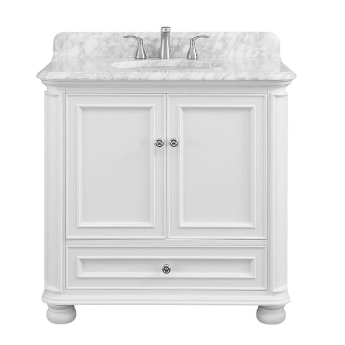 Allen Roth Wrightsville 36 In White Undermount Single Sink Bathroom Vanity With Natural Carrara Marble Top In The Bathroom Vanities With Tops Department At Lowes Com