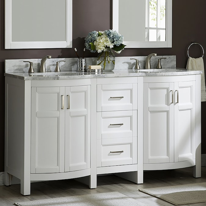 Allen Roth Moravia 60 In White Undermount Double Sink Bathroom Vanity With Natural Carrara Marble Top In The Bathroom Vanities With Tops Department At Lowes Com
