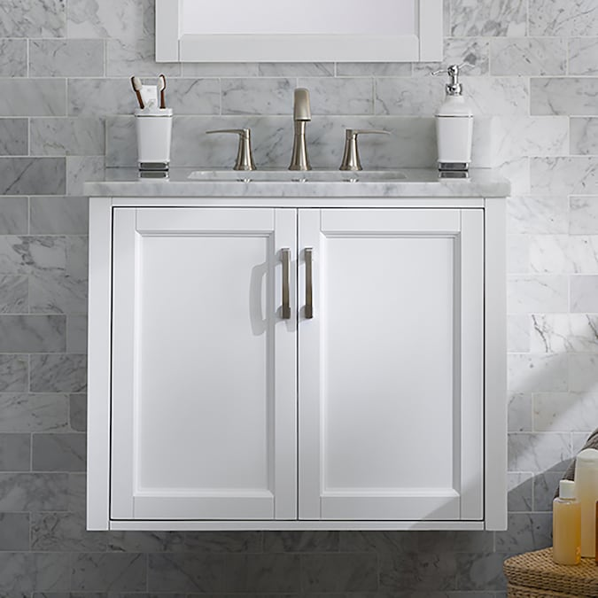 Allen Roth Floating 30 In White Single Sink Bathroom Vanity With Natural Carrara Marble Top In The Bathroom Vanities With Tops Department At Lowes Com