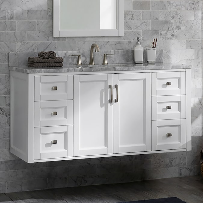 Allen Roth Floating 48 In White Undermount Single Sink Bathroom Vanity With Natural Carrara Marble Top In The Bathroom Vanities With Tops Department At Lowes Com