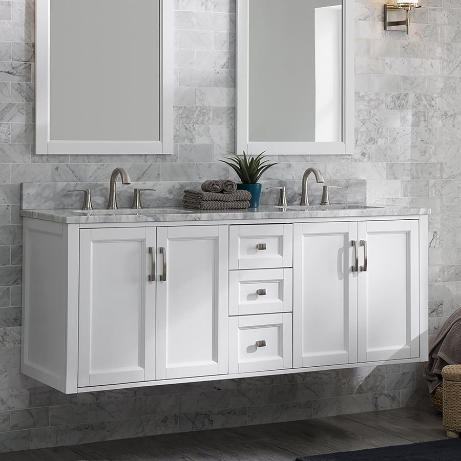 Allen + Roth Floating 60-in White Undermount Double Sink Bathroom Vanity  With Natural Carrara Marble Top In The Bathroom Vanities With Tops  Department At Lowes.com