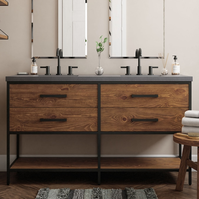 Allen Roth Deacon 60 In Rustic Pine With Black Metal Frame Undermount Double Sink Bathroom Vanity With Gray Faux Concrete Top In The Bathroom Vanities With Tops Department At Lowes Com