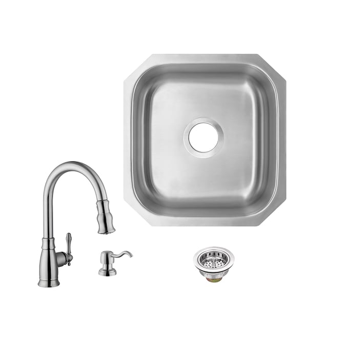 Superior Sinks 18 In L X 16 In W Brushed Satin Stainless Steel Undermount Residential Bar Sink In The Bar Prep Sinks Department At Lowes Com