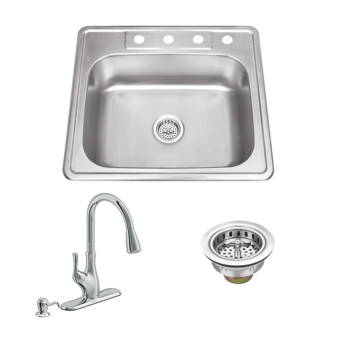 Superior Sinks Drop In 25 In X 22 In Brushed Satin Single Bowl 4 Hole Kitchen Sink All In One Kit In The Kitchen Sinks Department At Lowes Com