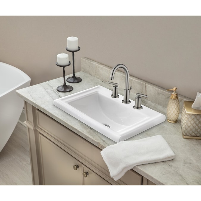 Superior Sinks White Glazed Ceramic Drop In Rectangular Bathroom Sink With Overflow Drain 23 In X 18 25 In In The Bathroom Sinks Department At Lowes Com
