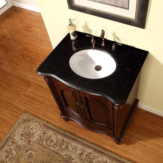 Silkroad Exclusive 30 In Rosewood Undermount Single Sink Bathroom Vanity With Black Galaxy Granite Top In The Bathroom Vanities With Tops Department At Lowes Com