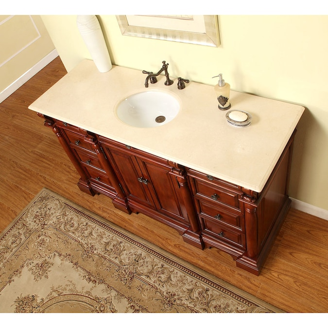 Silkroad Exclusive 62 In Red Oak Undermount Single Sink Bathroom Vanity With Crema Marfil Natural Marble Top In The Bathroom Vanities With Tops Department At Lowes Com